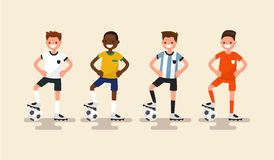 Set of of football players. Vector illustration. Flat design Royalty Free Stock Photos