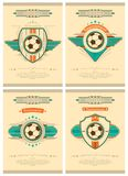 Set of football poster in retro style with emblem, ball and stars. Tournament invitation. Vector design. Stock Image