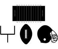 Set of Football Silhouettes Stock Image