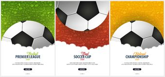 Set of Football or Soccer design posters with hand draw doodle elements on a background. Soccer championship. Vector ball. Vector illustration Stock Photo