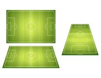 Set Of Football Soccer Fields. Football fields with trampled down grass. Top view and perspective view Stock Photos