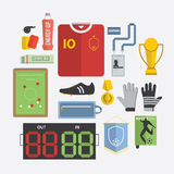 Set of Football / Soccer Icon in Flat Design Stock Image