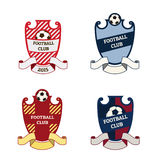 Set of football soccer logos. Set of football soccer crests logos with ribbons and soccer ball. EPS 10 Stock Photo