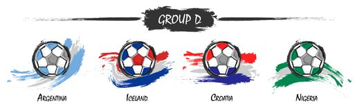 Set of football or soccer national team group D . Watercolor paint art design . Vector for international world championship tourna. Ment cup 2018 stock illustration