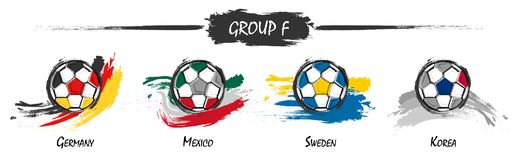 Set of football or soccer national team group F . Watercolor paint art design . Vector for international world championship tourna. Ment cup 2018 Stock Photo