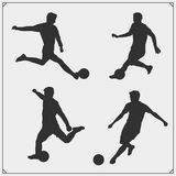 Set of football and soccer player silhouette. Black and white Stock Images