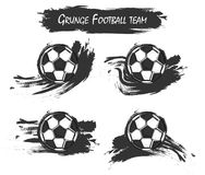 Set of football or soccer with watercolor paint art . Grunge design . Vector for international world championship tournament cup 2. 018 Royalty Free Illustration