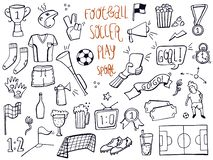 Set of football, sport, soccer icon doodles. Hand drawn sketched. Vector Illustration. royalty free illustration
