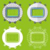 Set of football stadiums in flat design. Football stadiums top view. Vector Illustration. Stock Images