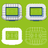 Set of football stadiums in flat design. Football stadiums top view. Vector Illustration. Royalty Free Stock Image