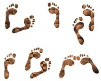 Set of footprints with different patterns Stock Image