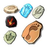 A set of footprints of fossil animals and man isolated on white background. Vector cartoon close-up illustration. A set of footprints of fossil animals and man Royalty Free Stock Photo
