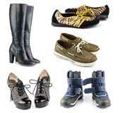 Set of footwear black leather lady high boots, sport male and fe Stock Photography