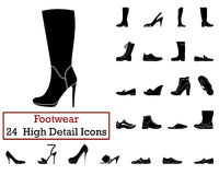 Set of 24 Footwear Icons Royalty Free Stock Images