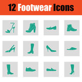 Set of footwear icons Stock Images