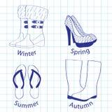 A set of footwear on seasons Stock Image