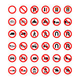 Set of forbidden road signs isolated on white Stock Images