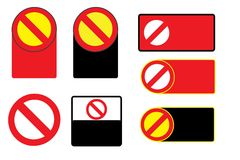 Set of Forbidden Sign Symbol Zone Blank Vector Royalty Free Stock Photography