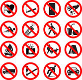 Set of forbidden signs Stock Image