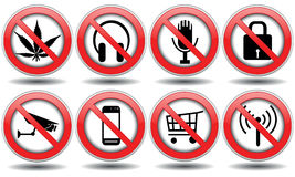 Set of forbidden signs, vector Stock Photos