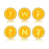 Set of foreign coins. Set of gold foreign coins vector illustration