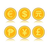 Set of foreign coins. Set of foreign gold coins stock illustration