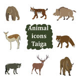 Set of forest animals. Bear, bison, wild boar, fox, wolf llama lynx moose Stock Photo