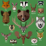 Set of forest animals faces icons. Flat style design. Vector illustration vector illustration