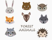 Set of forest animals faces stock illustration