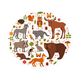 Set of forest animals Royalty Free Stock Photography