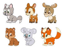 Set of forest cartoon animals Stock Photos