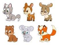 Set of forest cartoon animals Stock Photos