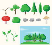 Set of forest elements. Royalty Free Stock Photography