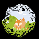 Set Forest Fox Bird Wild Cute Nature Woods Cartoon Stock Photography