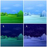 Set forest landscapes Royalty Free Stock Photos