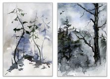 Set of forest landscapes. Watercolor painting. Royalty Free Stock Photo