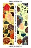 Set of forest seamless pattern. Size 70x270. Shift 1x2. stock illustration