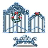 Set of forged metal elements of fence and gate covered with snow and decorated with wreath of fir branches with a red vector illustration