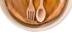 Set of fork,spoon and dish wood isolated over white Royalty Free Stock Photography
