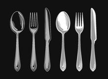 Set of fork, spoon and knife. Cutlery tableware. Elements for design menu restaurant or cafe, diner. Vector illustration Stock Photo