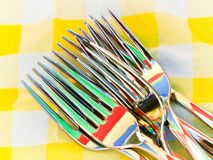 Set of forks with nice colorful reflection Stock Photos