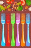 Set of forks with vegetables Stock Images