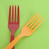Set of Forks on a Vibrant Background Stock Images