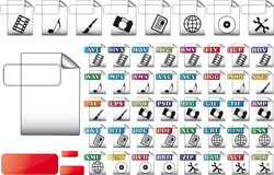 Set format file icons. For use multimedia Royalty Free Stock Images