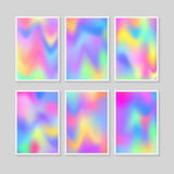 Set of A4 A3 format poster. Colourful backgrounds set. Holographic effect vector illustration vector illustration
