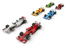 Set of formula one cars - top side view Royalty Free Stock Images