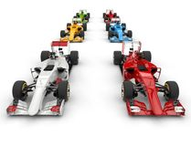 Set of formula one cars - top view Royalty Free Stock Image