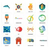 Set of fortress, free delivery, disability, masquerade, pillow, checkmark, home paint, royal lion, icons. Set Of 16 simple editable icons such as fortress, free Stock Image