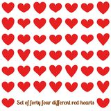 Set of forty four different red hearts, isolated on white. EPS 10 royalty free illustration
