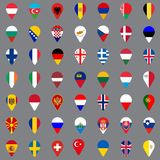 Set of forty nine geolocation icons. Flags of all European countries in the form of geolocation icons. Geotag icons for your web. Site design, logo, app, UI stock illustration